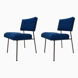 Mid-Century Beistellstühle aus Stahl & Wolle, 1950er, 2er Set