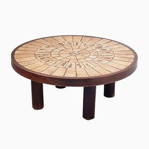 Table Basse en Céramique et en Chêne par Roger Capron, France, 1960s