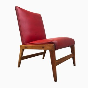 Fauteuil Mid-Century Rouge, 1950s
