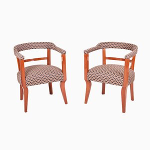 Austrian Art Deco Mahogany Armchairs, Set of 4
