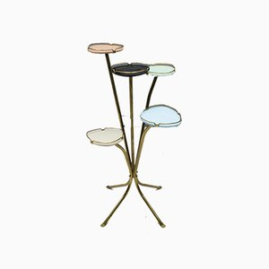 Mid-Century Italian Modern Brass & Multicolored Glass Flower Stand, 1950s