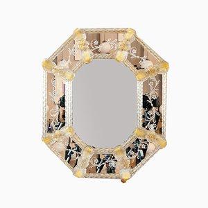 Espejo italiano italiano de cristal de Murano grabado, años 60