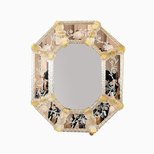 Italian Murano Venetian Floral Etched Wall Mirror, 1960s