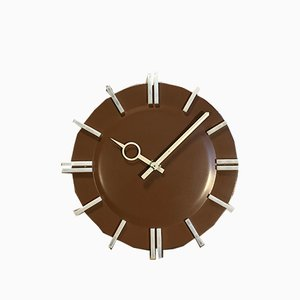 PPH 413 Brown Industrial Office Wall Clock from Pragotron, 1970s