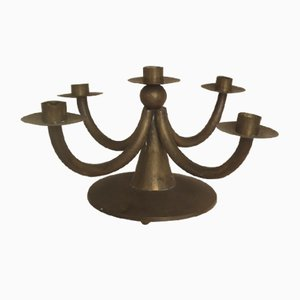 Antique Art Nouveau German Brass Candleholder, 1890s