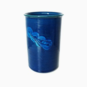 Vase en Céramique Bleue par Nils Kähler pour Kähler, 1970s