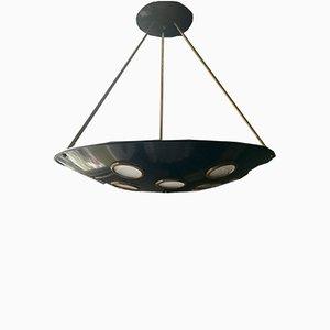 Lámpara de araña italiana Mid-Century de aluminio y latón, años 50
