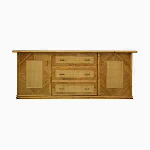 Italian Bamboo and Wicker Sideboard from Vivai del Sud, 1960s