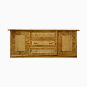 Italienisches Sideboard aus Bambus & Korbgeflecht von Vivai del Sud, 1960er