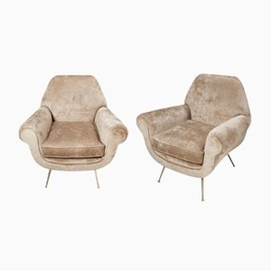 Italian Brass and Chenille Armchairs by Gigi Radice, 1960s, Set of 2