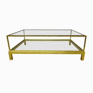 Vintage French Brass and Glass Coffee Table from Maison Jansen