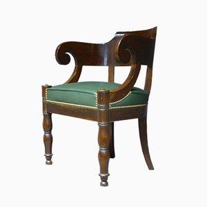 Silla de escritorio francesa antigua de cuero y caoba