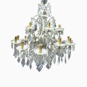 Antique French Bronze and Crystal Ceiling Lamp