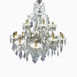 Lámpara de techo francesa antigua de bronce y cristal