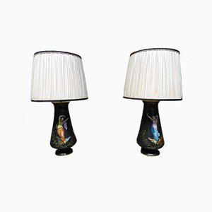 Antique French Porcelain Ceiling Lamps, Set of 2