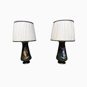 Lámparas de techo francesas antiguas de porcelana. Juego de 2