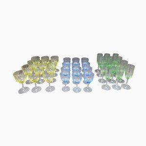 Vajilla francesa vintage de cristal y vidrio. Juego de 36