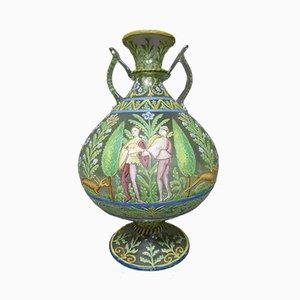 Jarrón francés antiguo de vidrio