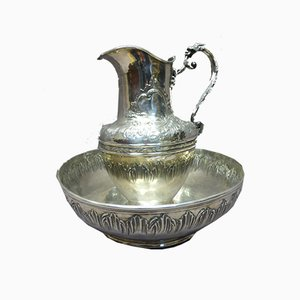 19th-Century Silver-Plated Ewer and Basin