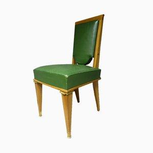 Französische Mid-Century Esszimmerstühle aus Bronze & Leder, 12er Set