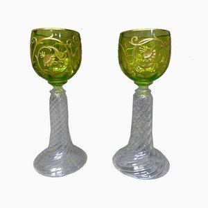 Vajilla francesa vintage de cristal y oro. Juego de 12