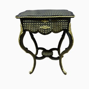 Antique French Brass, Bronze, and Wood Side Table