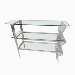 Vintage French Glass and Metal Shelf, 1980s