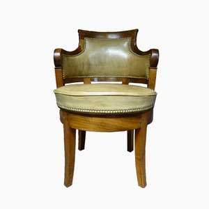 Antique French Leather and Walnut Swivel Desk Chair
