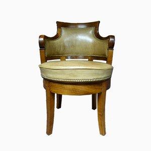 Silla de escritorio francesa antigua de nogal y cuero