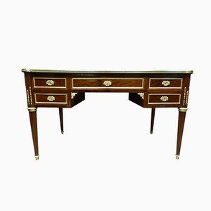 Antiker französischer Schreibtisch aus Mahagoni, Messing und Leder im Louis XVI Stil