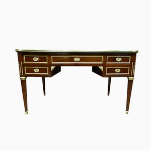 Antique Louis XVI Style French Mahogany, Brass and Leather Desk