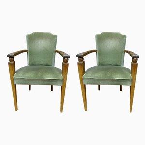 Französische grüne Mid-Century Sessel aus Samt & Nussholz, 2er Set