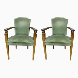 Mid-Century French Green Velvet and Walnut Armchairs, Set of 2