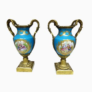 Antique French Gilded Bronze and Porcelain Vases, Set of 2