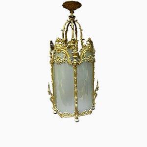 Farol francés antiguo de bronce