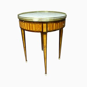 Antique French Brass and Leather Side Table