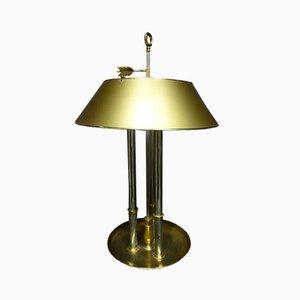Lámpara de mesa francesa vintage de bronce dorado y metal