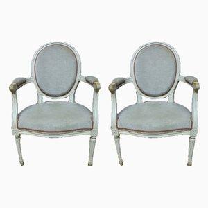 Vintage Armlehnstühle im Louis XVI Stil, 1980er, 2er Set