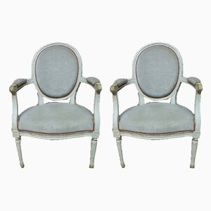 Vintage Louis XVI Style Armchairs, 1980s, Set of 2