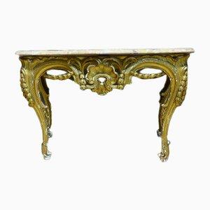Mesa consola Louis XV francesa antigua de madera dorada