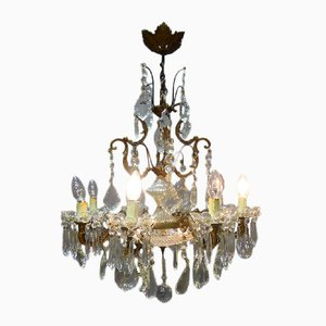 Lámpara de araña francesa antigua de cristal de Baccarat
