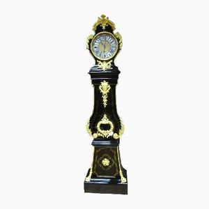 Reloj de caja alta francés antiguo de latón y bronce de Antoine Pelletier