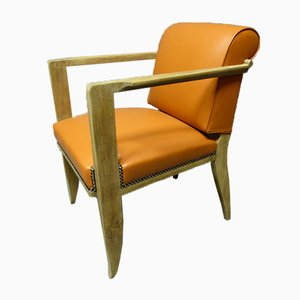 Mid-Century French Leather and Oak Desk Chair from Francisque Chaleyssin