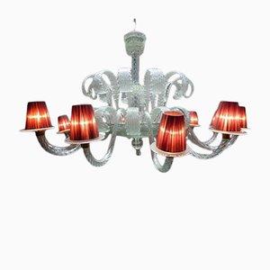 Lámpara de araña francesa vintage grande de cristal de Murano