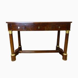 Antiker französischer Empire Schreibtisch aus Leder & Mahagoni