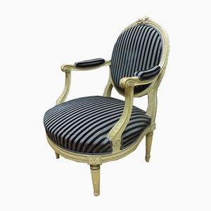 Antike französische Armlehnstühle im Louis XVI Stil aus Stoff & Samt, 2er Set