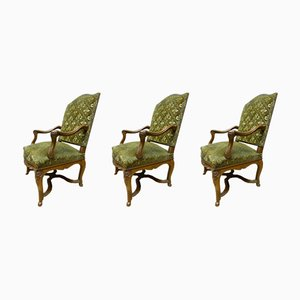 Antique French Velvet & Walnut Regency Style Armchairs, Set of 3