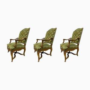Antique French Velvet & Walnut Regency Style Armchairs, Set of 3