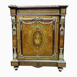 Antique French Cherry, Glass, and Wood Napolean III Sideboard