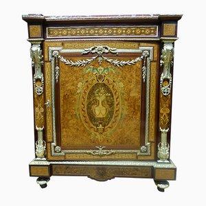 Aparador francés Napolean III antiguo de cerezo, vidrio y madera